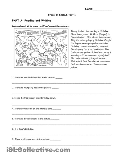 Printables. English Reading Comprehension For Grade 3. Tempojs Thousands Of  Printable Activities